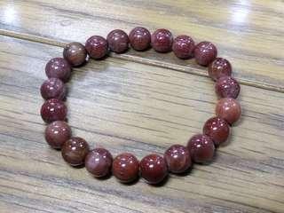 天然 深紅色 全滿珠 飽滿 排列齊 紅髮晶 水晶 手鍊 手串 15.8g