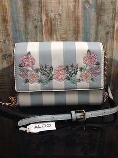 ALDO Blue Striped Flower Shoulder Bag