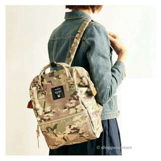 ✳ Light Camo Green Authentic Anello Canvas Backpack