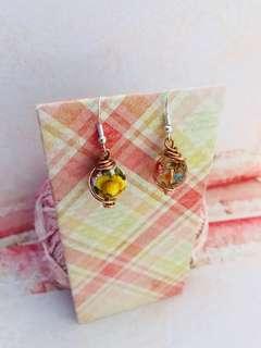 Japanese Tensha earrings copper wrap mismatch pair