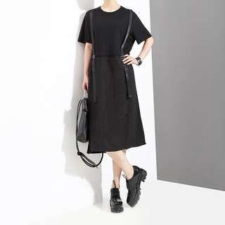 Fake two-piece dress black strap high waist short-sleeved Dress