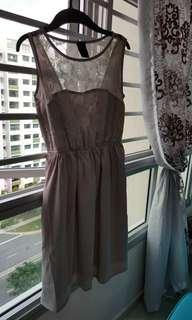 Grey satin lace dress