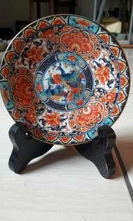 孔雀彩繪瓷盤