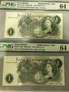UK £1 Replacement / Star Error Note. Sign J. B. Page. PMG 64. Known 40 pieces worldwide or 20 pairs only.  Very rare.