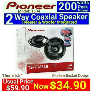 "PIONEER Car Speaker - 200 watts 2 Way Shallow Basket Coaxial 6.5"" Speaker + Built-in Tweeter(. Model:TS-F1634R) Usual Price: $ 59.90. Special Price: $34.90 ( Brand New In Box &  Sealed) whatsapp 85992490 to Collect Today"