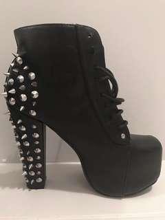 Black studded heel boots