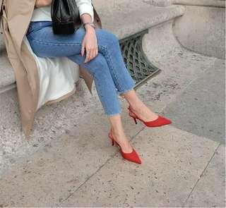 Boussac Elegant Slingbacks High Heel - Red