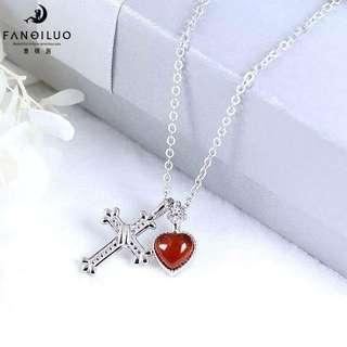 S925 Silver Chrome Heart Agate Pendant Necklace