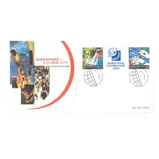 FDC #82  Singapore A Global City - World Stamp Championship 2004
