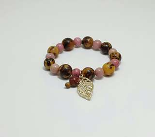 Rhodochrosite Stones & Coco Wood Elastic Bracelet