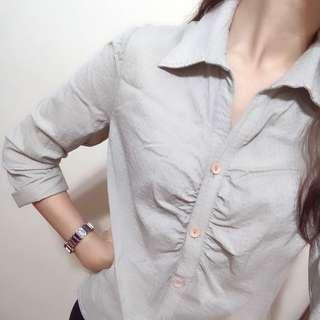 🚚 V領 七分袖襯衫 OL