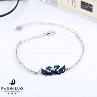 S925 Silver Swarovski Blue Double Swan Bracelet