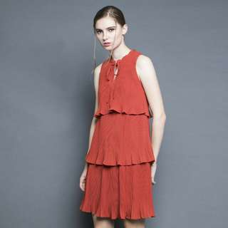 Soigne the label tiered pleated dress in burnt orange (size S)