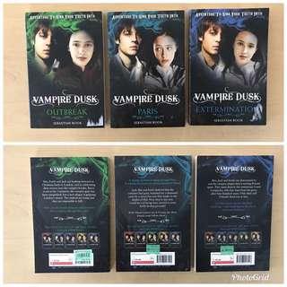 Vampire Dusk series by Sebastian Rook - (a) Outbreak, (b) Paris, (c) Extermination