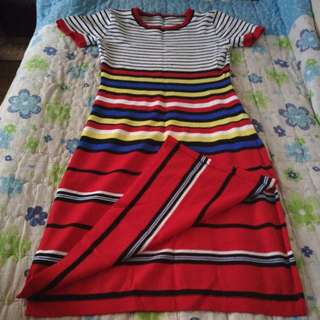 Multicolored Striped Dress (with side slits)
