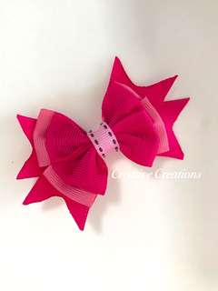 <New Arrival> Hotpink Sweetpink Layered Bow Hairtie/Hair clip/Brooch