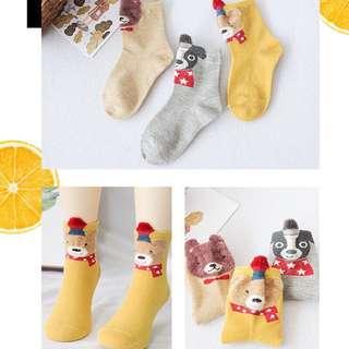 韓版可愛立體耳朵兒童棉襪 三雙ㄧ百