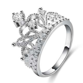 Silver Plated Crown Ring with Zircon Crystal
