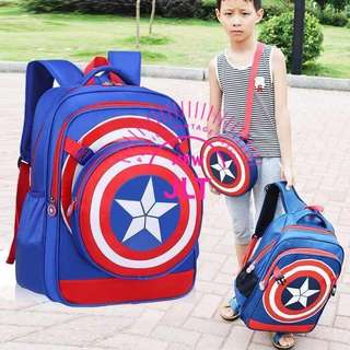 2in1 captain america backpack blue black 16inches