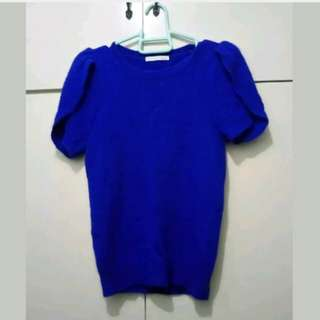 WA593 Giselle Royal Blue Knitted Blouse (Mint Condition)