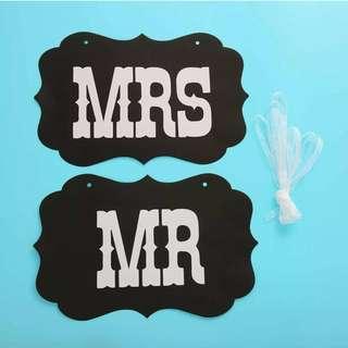 Mr & Mrs wedding prep chair sign