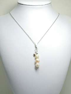 Peach & White Freshwater Pearl Pendant Necklace