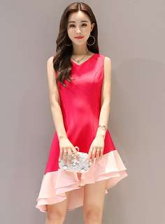 Formal: Stylish V-Neck Dovetail Color Block Tank Dress (S / M / L / XL) - OA/MKD050910