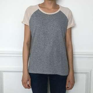 Gray Shirt Pink Sleeves T-Shirt