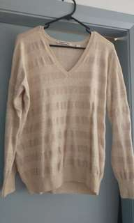 Country Road pink/beige metallic stripe wool jumper