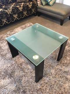 Black Wood and Glass Coffee Table