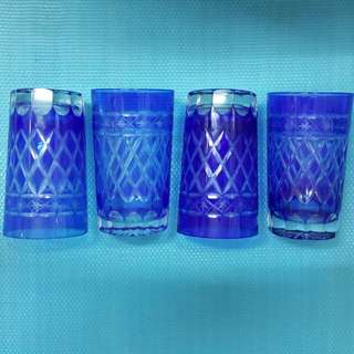 VINTAGE 中古 4隻 玻璃 水 杯   W-31