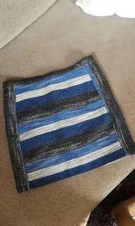 H&M Black and Blue Mini Skirt