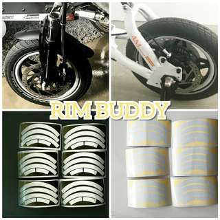 DYU Scooter White Reflective Safety Rim Stickers