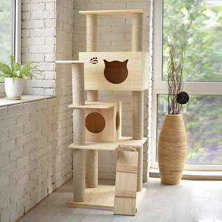 [ Ready Stock ] Solid Wood Deluxe Cat Tree