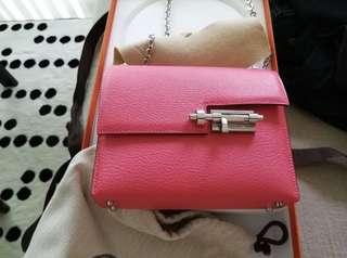 Brand New Hermes Verrou Mini in Rose Lipstick Chevre Phw