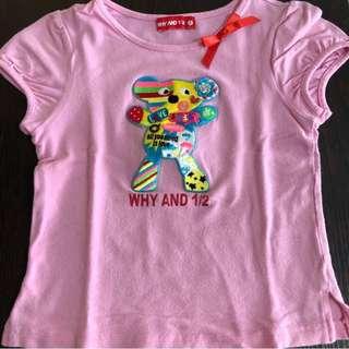 🎉二手-WHY AND 1/2 普普熊粉色短袖上衣-7號 (版小,較適合5號/110cm)