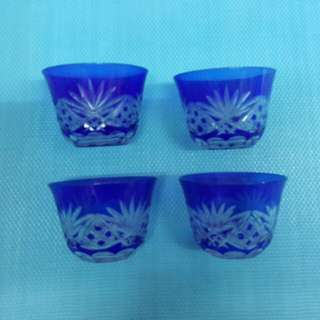 中古 vintage 4隻 藍 玻璃杯   W-31