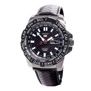 Seiko 5 Sport SRP723K1 Automatic Limited Edition Black Leather Jam Pria SRP723