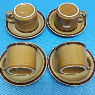 中古 Vintage ICAC 套杯碟 廉政公署 4套 4 set 少有   W-31