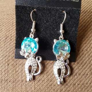 Blue / Pink Crystal Rhinestone Hook Earrings