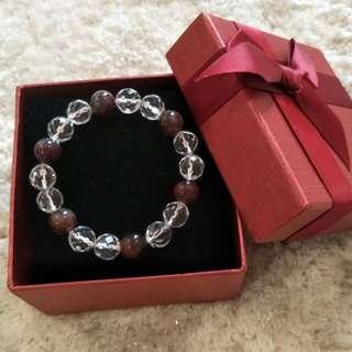 Natural Auralite 23 + White Crystal Bracelet