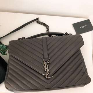 Authentic Saint Laurent Classic Large College Bag in Grey Calfskin Leather