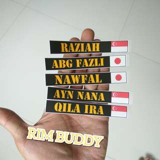 Name + Country Flag Stickers for Scooter and Bicycles