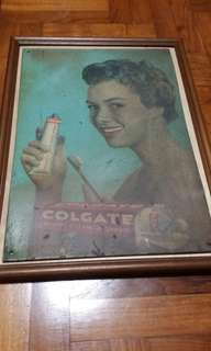 Old advertisement tin plate, Colgate.