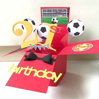 Happy 21st Birthday Handmade man United Pop Up Card