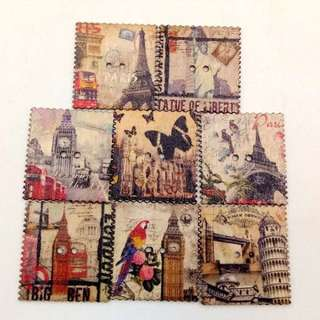 Vintage Wooden Tower  Postcard Stamp Buttons
