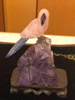 粉晶小鳥連紫晶片(簇)擺設