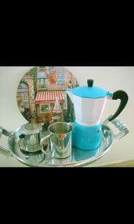 夢*想家 (大減價 只需78元)自助式咖啡壺(藍白色)