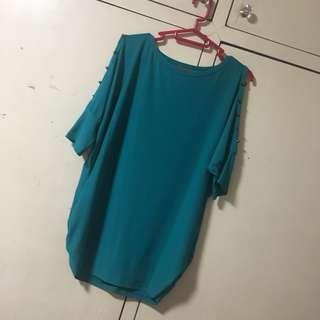 Blue Green cold Shoulder Blouse