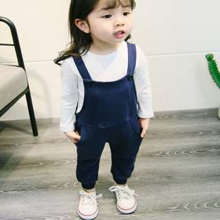 Korea Stylist Long-Sleeve Shirt & Overall Pants 2-Piece Unisex Clothing Set Dark Blue